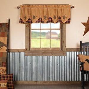 VHC Brands Primitive |  Window Treatments | Heritage Farms Primitive Star and Pip Valance Layered 20x72