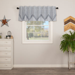VHC Brands Farmhouse |  Window Treatments | Sawyer Mill Blue Valance Layered 20x72