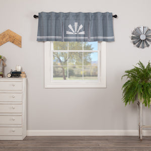 VHC Brands Farmhouse |  Window Treatments | Sawyer Mill Blue Windmill Valance Pleated 20x72