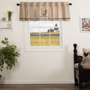 VHC Brands Farmhouse |  Window Treatments | Sawyer Mill Charcoal Chicken Valance Pleated 20x72