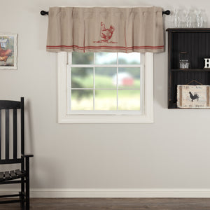 VHC Brands Farmhouse |  Window Treatments | Sawyer Mill Red Chicken Valance Pleated 20x72
