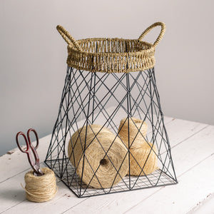Wire Storage Basket with Jute Accents