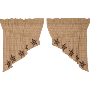 VHC Brands Classic Country | Kitchen Window Treatments | Bingham Star Prairie Swag Applique Star Set of 2 36x36x18