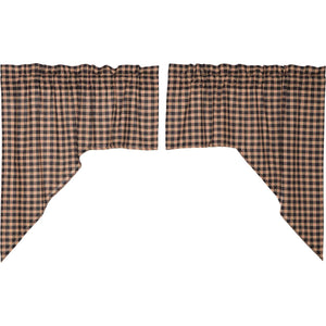 VHC Brands Classic Country | Kitchen Window Treatments | Bingham Star Swag Plaid Set of 2 36x36x16