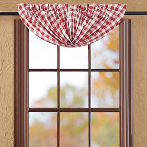 VHC Brands Farmhouse |  Window Treatments | Buffalo Red Check Balloon Valance 15x60