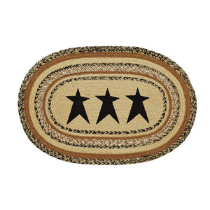 VHC Brands Kettle Grove Jute Rug Oval Stencil Star 20x30
