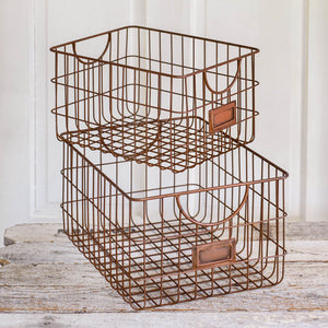 Set of Two Copper Finish Storage Baskets