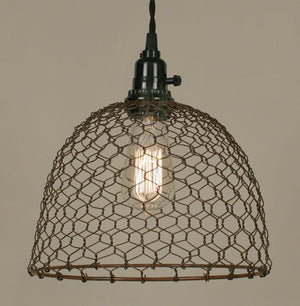 Shop Chicken Wire Dome Pendant Light - Primitive Rust