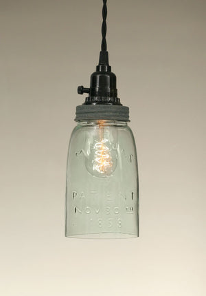 Shop Quart Open Bottom Mason Jar Pendant Lamp - Barn Roof