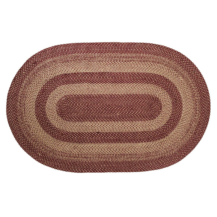 Burgundy Tan Jute Rug Oval 60x96