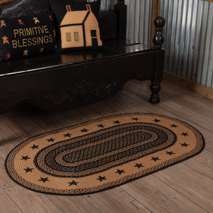 VHC Brands Farmhouse Jute Rug Oval Stencil Stars Border 36x60
