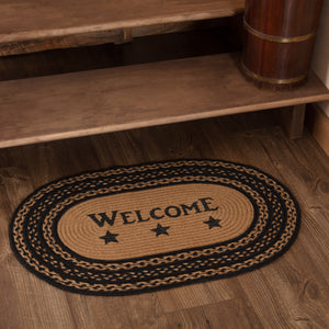 VHC Brands Farmhouse Jute Rug Oval Stencil Stars Welcome 20x30