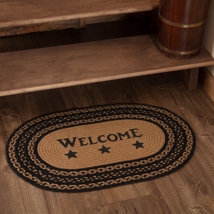 Farmhouse Jute Rug Oval Stencil Stars Welcome 20x30