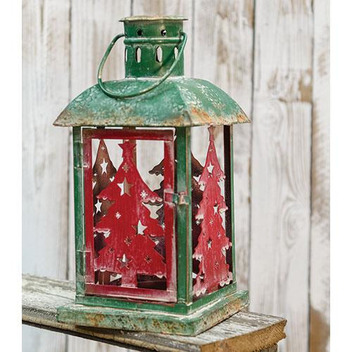 Vintage Christmas Tree Tin Lantern