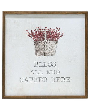 Bless All Who Gather Here - Framed Watercolor Wall Art 20""