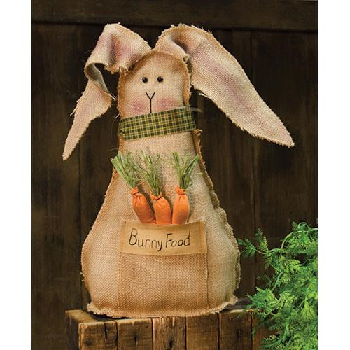 Vintage Burlap Bunny with Buttons