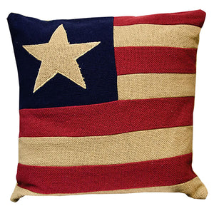 Burlap Flag Pillow Sham - 16 Inch Sq