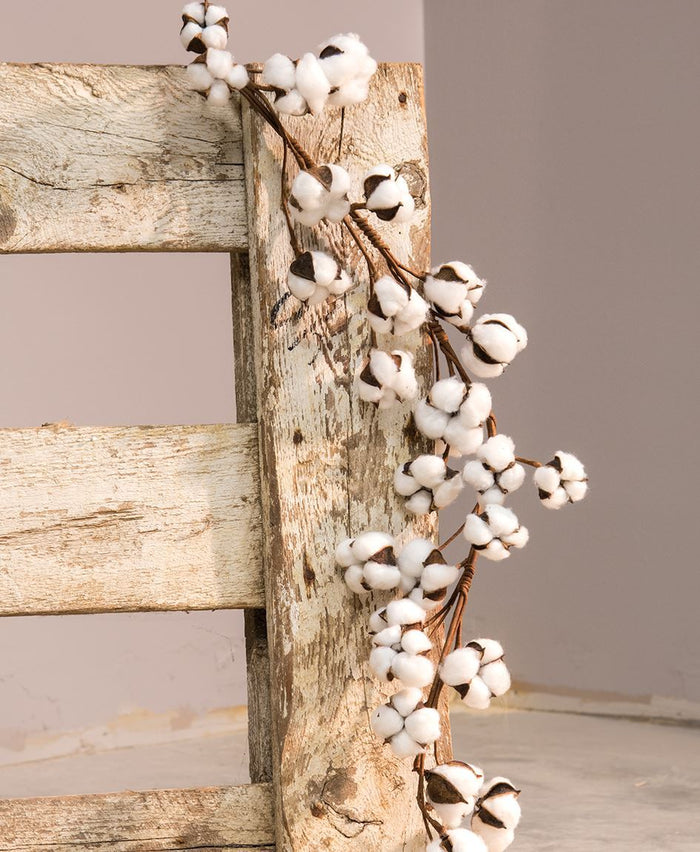 "40"" Natural Cotton Ball Garland"