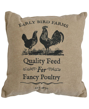 Farmhouse Cotton Burlap Throw Pillow - Early Bird Farms