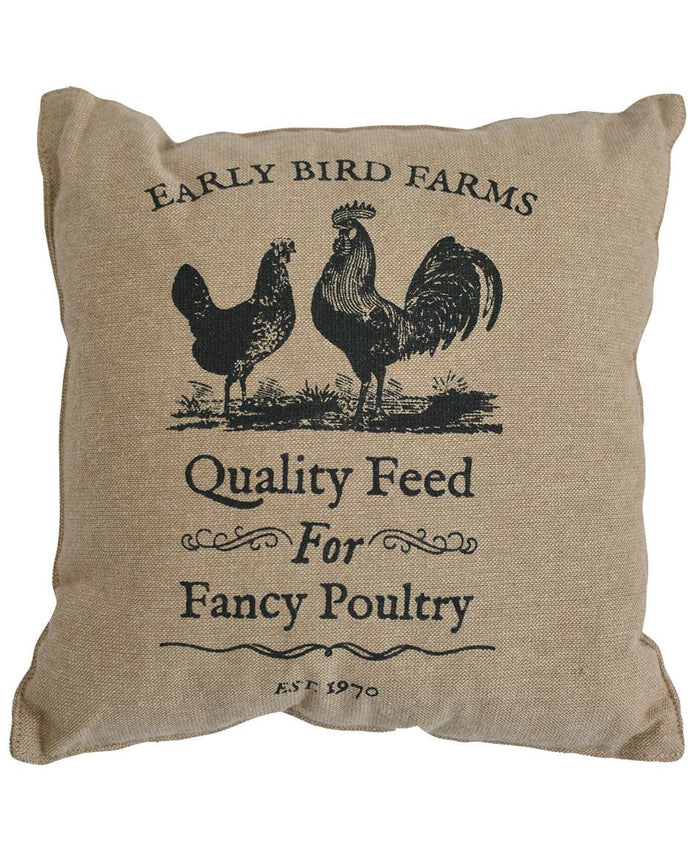Early Bird Farms Cotton Burlap Throw Pillow