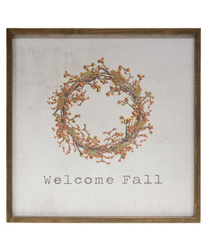Welcome Fall - Framed Watercolor Wall Art - 20""