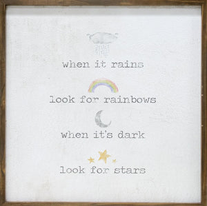 When it rains, look for rainbows Framed Watercolor Art