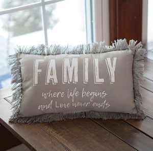 "Gray ""Family Where Life Begins"" Throw Pillow"