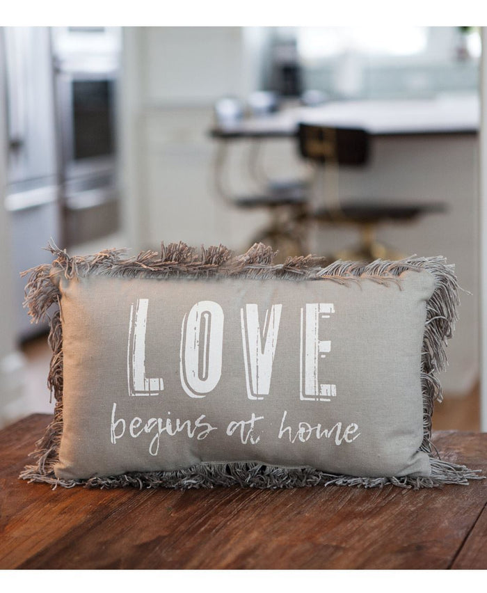 "Gray ""Love Begins at Home"" Throw Pillow"