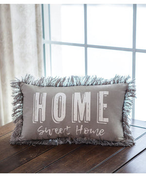 "Gray ""Home Sweet Home"" Throw Pillow"