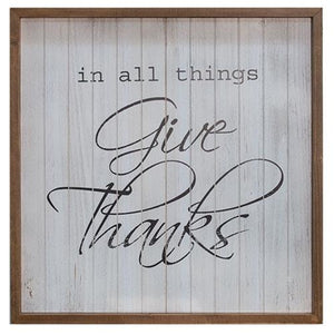 "Rustic Slatted Wood Sign ""All Things Give Thanks"""