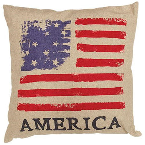 Vintage American Flag Burlap Pillow