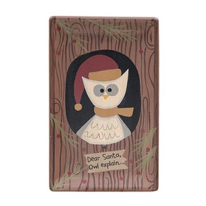 Christmas Owl Wooden Tray