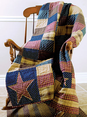 Vintage Patriotic Patch Throw
