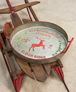 Red Nose Reindeer Farm Sleigh Rides Metal Tray