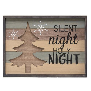 Wooden Silent Night Framed Sign