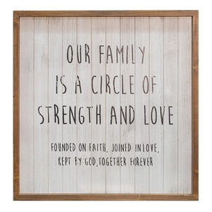 Rustic Slatted Wood Sign Our Family Circle ι The Cottage Store
