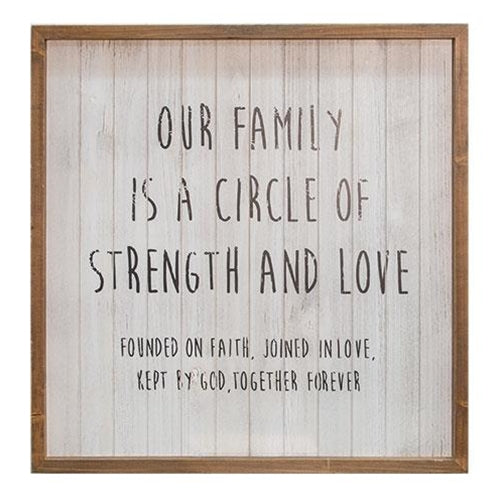 "Rustic Slatted Wood Sign ""Our Family Circle"""