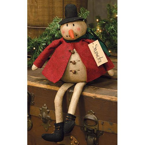 Snowden Snowman with Red Jacket Christmas Figurine