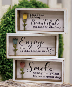 Distressed White  Wood Tulip Shadow Boxes
