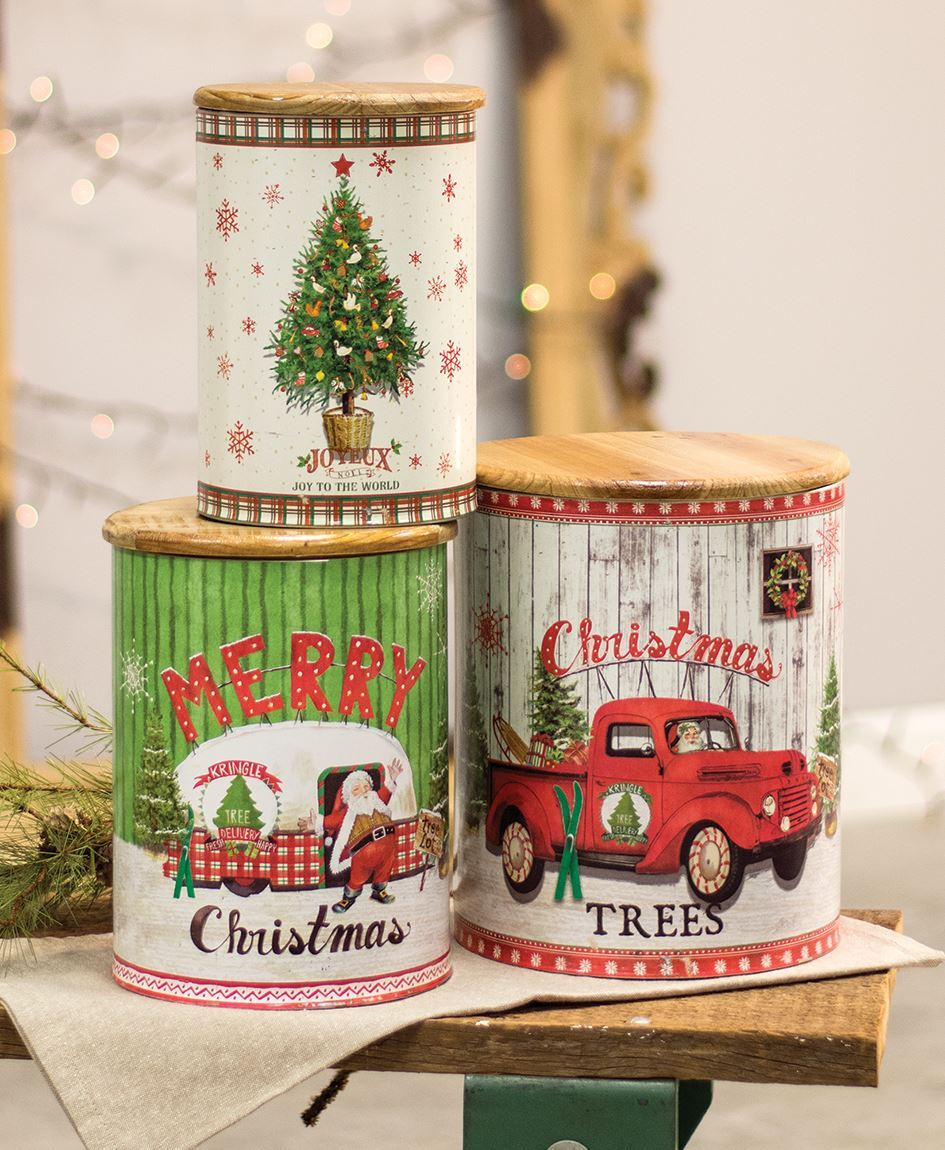 Vintage Merry Christmas.Vintage Merry Christmas Canisters