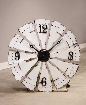 Country White Enamel Windmill Clock - 33""