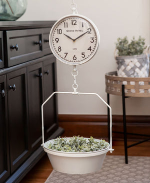 White Vintage Hanging Scale with Clock