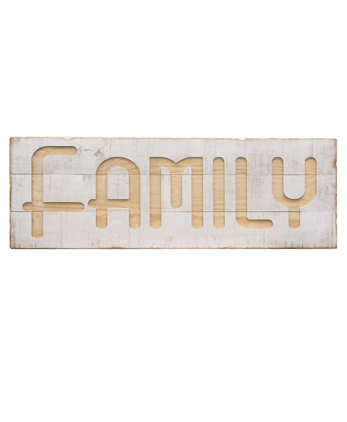 Whitewashed Engraved Family Wood Sign