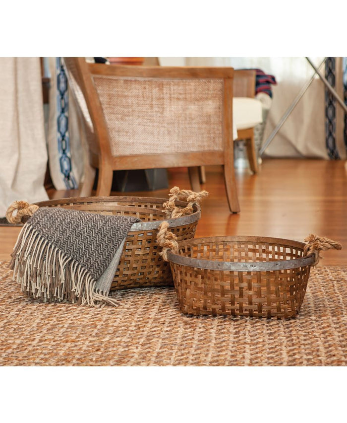 Woven Baskets with Jute Handles