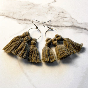 vK. Tassel Earrings - FOREST