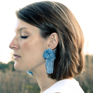 vK. Pom Pom Tassel Earrings - Baby Blue