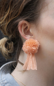 vK. Pom Pom Tassel Earrings - Peach