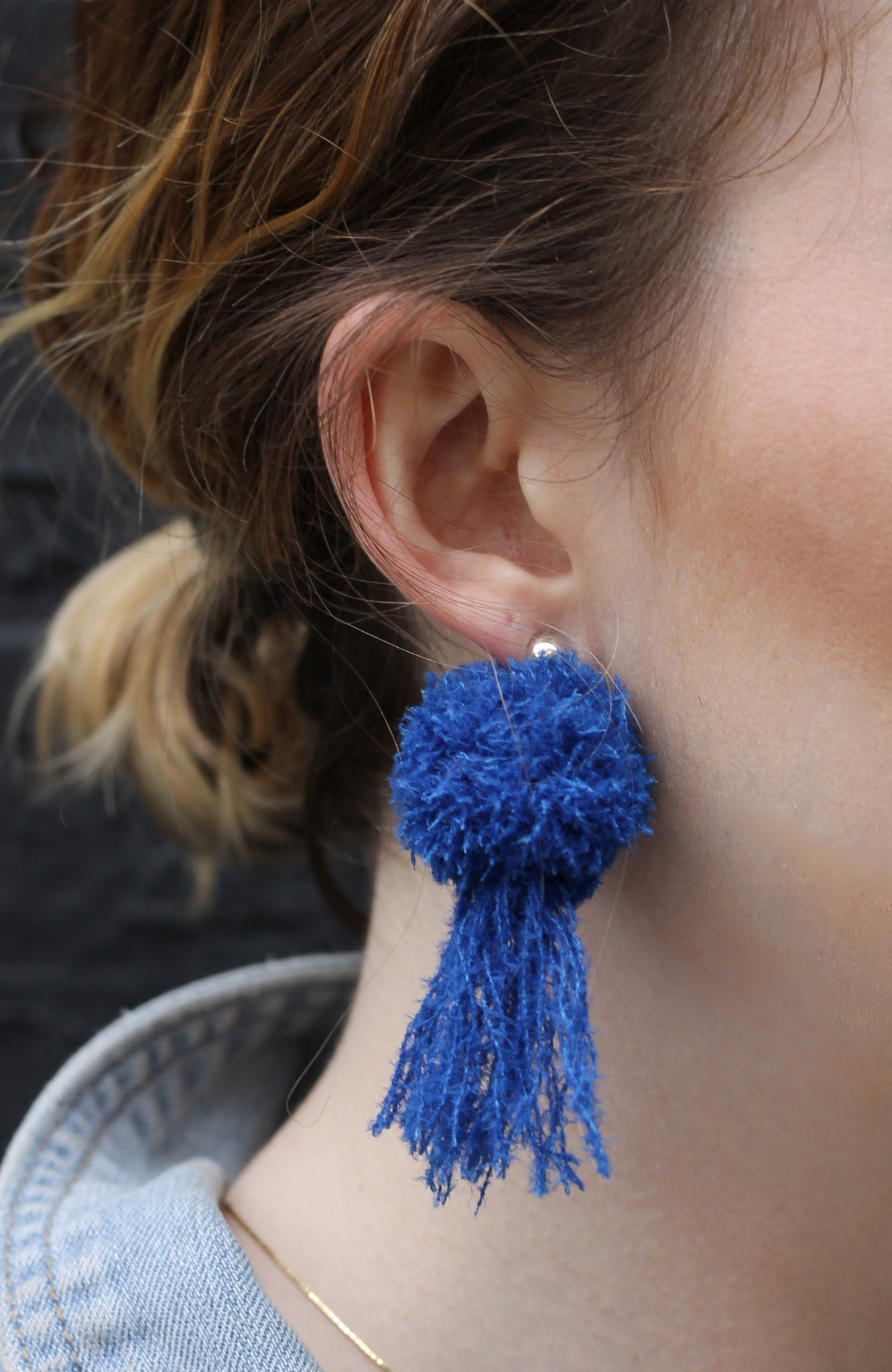 vK. Pom Pom Tassel Earrings - Royal Blue
