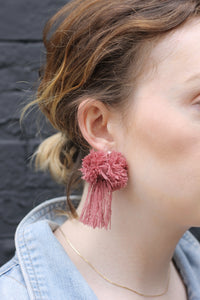 vK. Pom Pom Tassel Earrings - Mauve