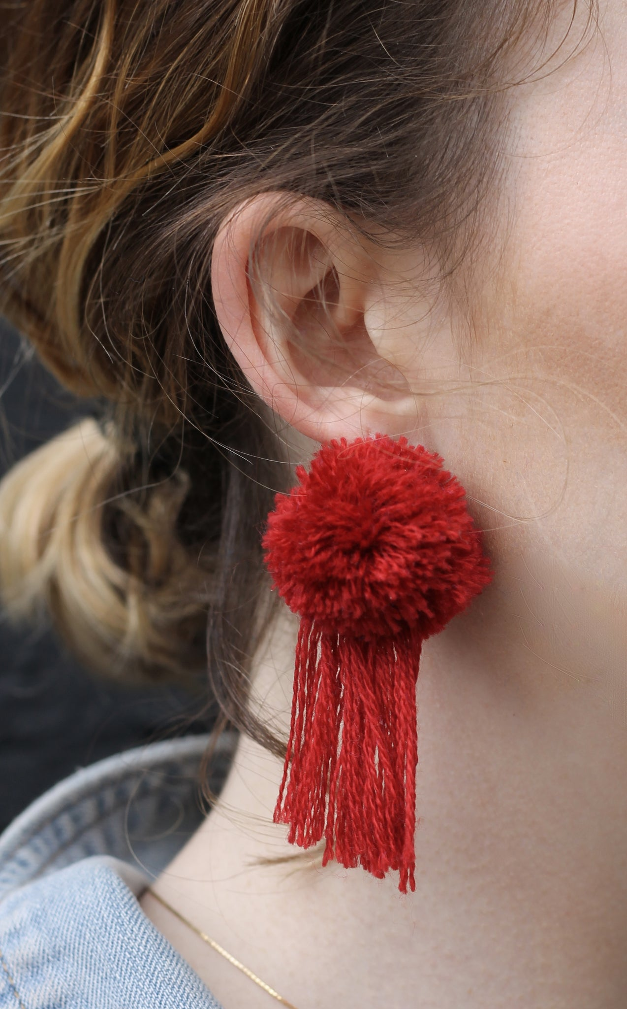 vK. Pom Pom Tassel Earrings - Red